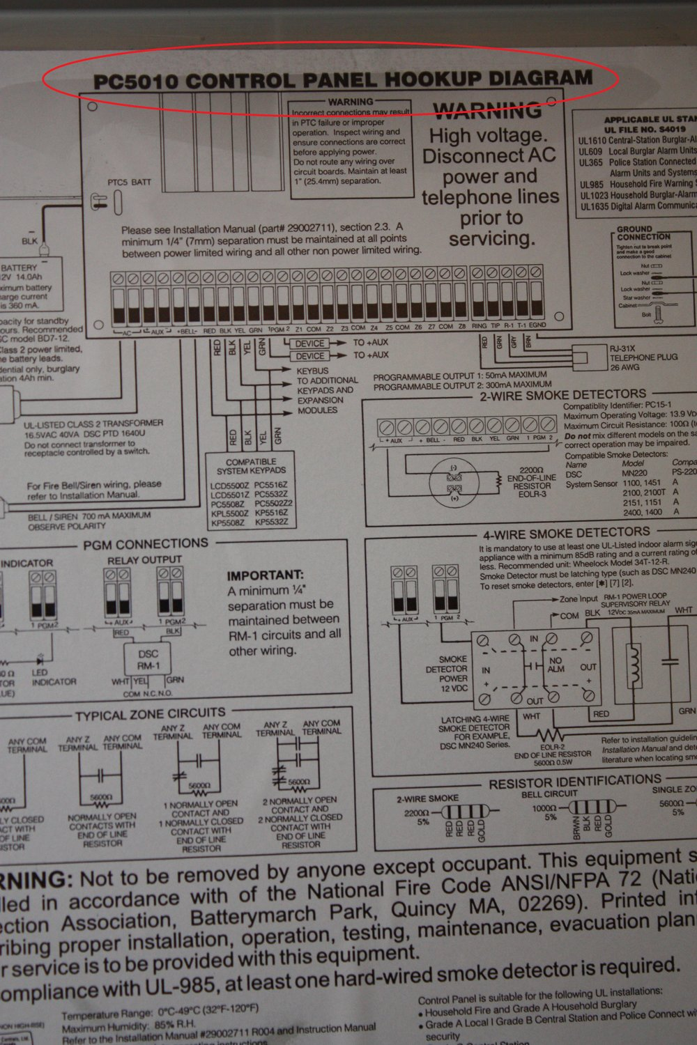 Hookup panel diagram for the 5507 DSC Touchscreen alarm system showing the location of the serial number - NCA Alarms Nashville TN