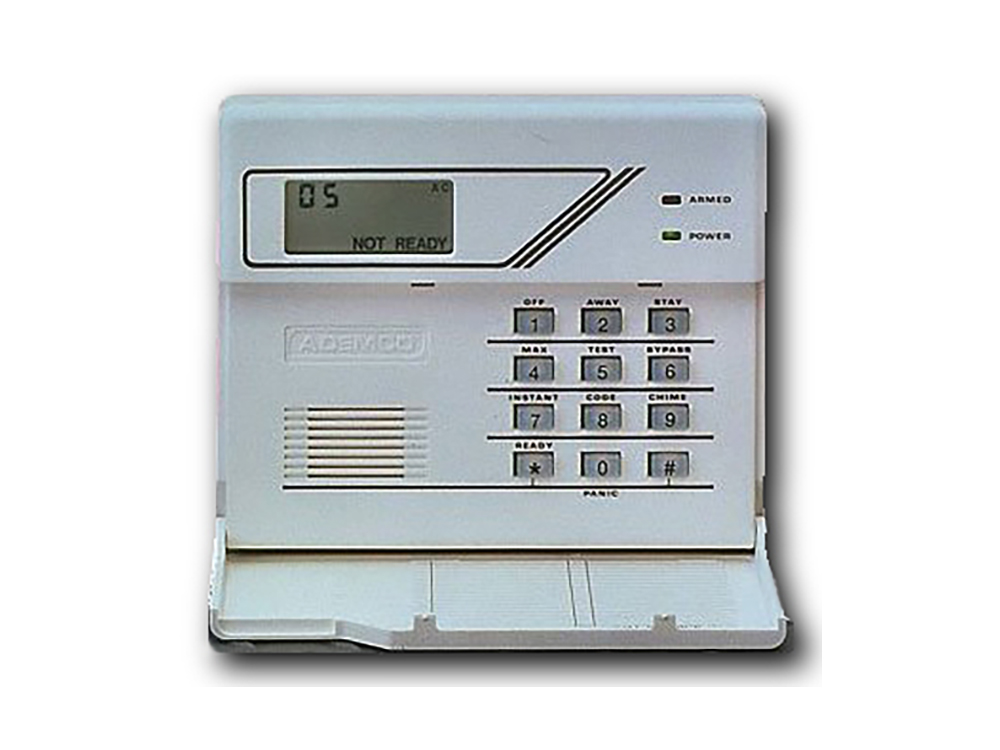 Keypad for the 6128 ADECMO Fixed English alarm system with protection cover open - NCA Alarms Nashville TN