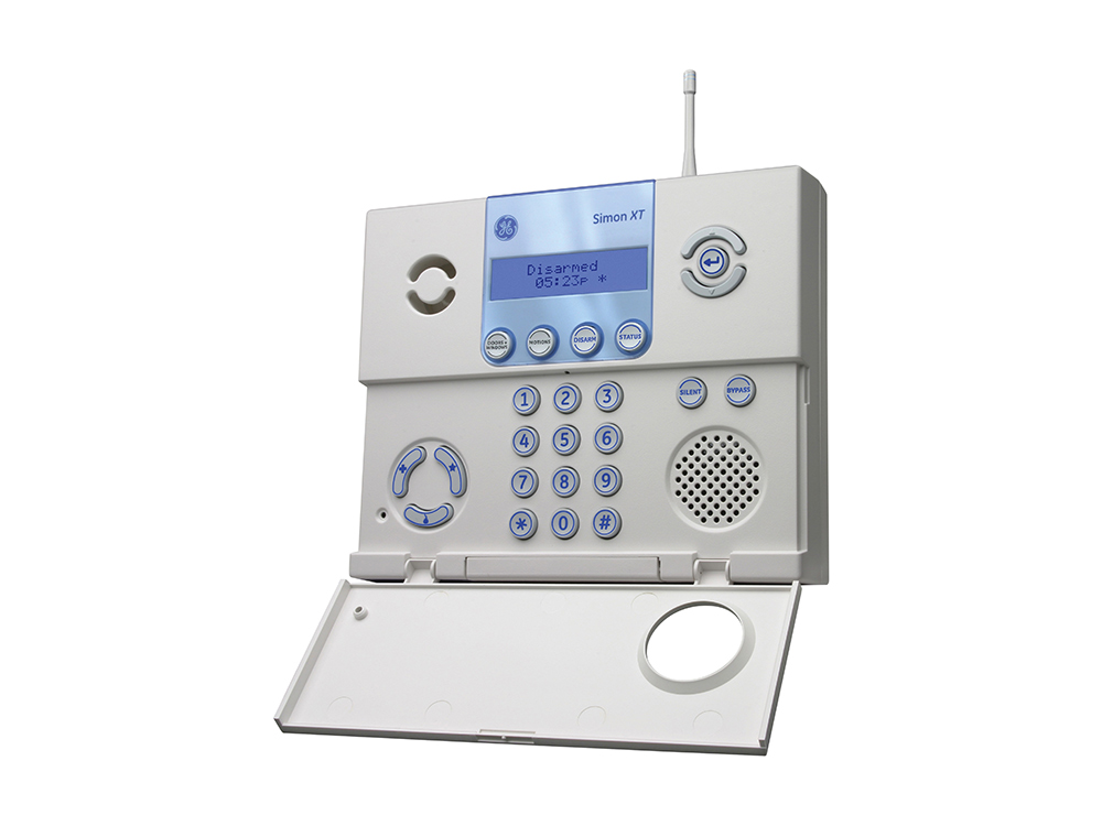 Keypad for the GE Simon XT alarm system with the protection cover open- NCA Alarms Nashville TN
