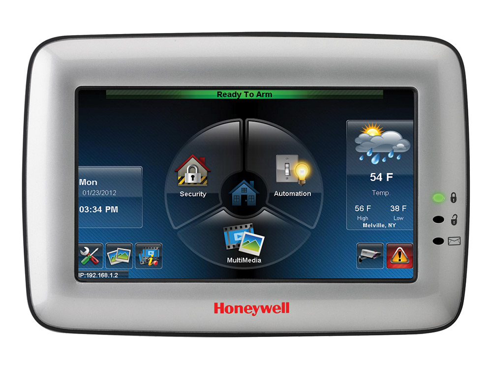 Keypad for the Honeywell Tuxedo Touch alarm system showing icons - NCA Alarms Nashville TN