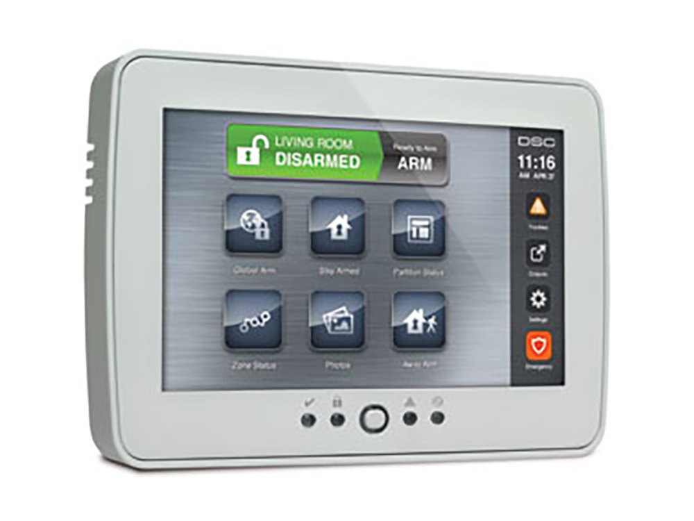 Keypad for the 5507 DSC Touchscreen alarm system showing icons - NCA Alarms Nashville TN