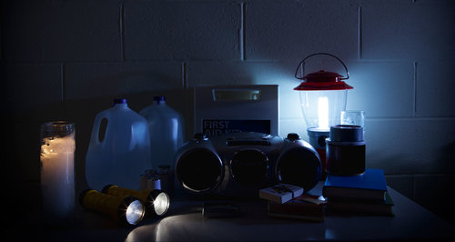 Picture of supplies in a house during a blackout