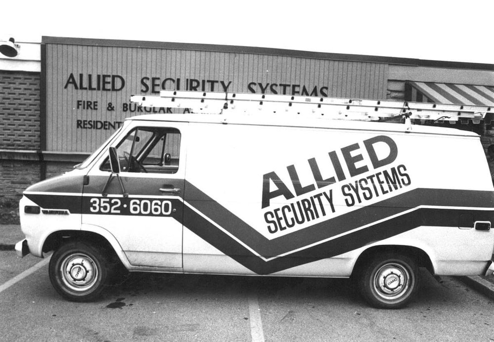 First Allied Security Systems van in 1974 located in Belle Meade - NCA Alarms Nashville TN