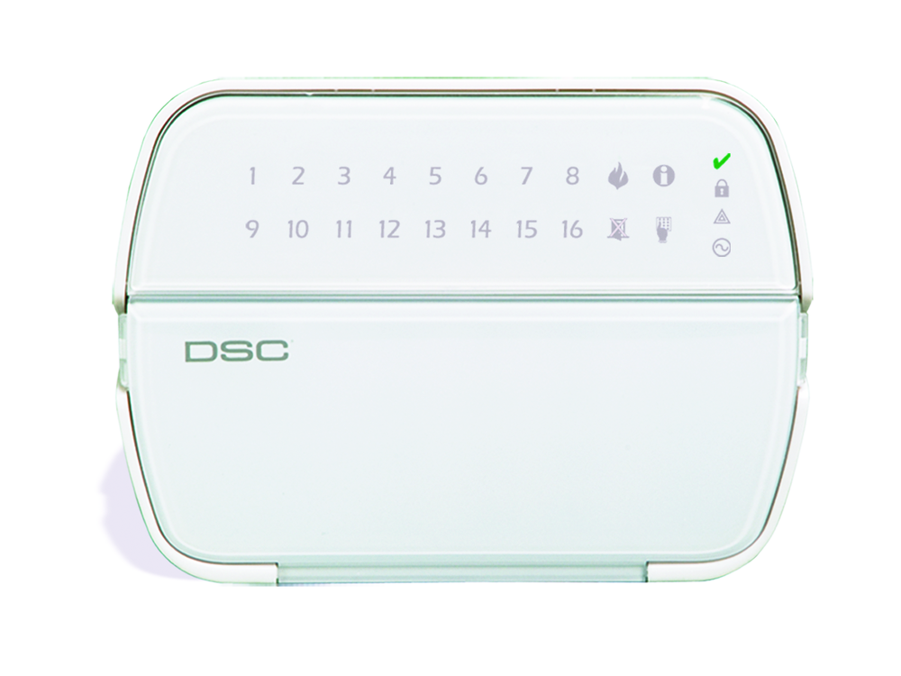 The 5516Z DSC Power Series LED keypad with the protection cover closed - NCA Alarms Nashville TN