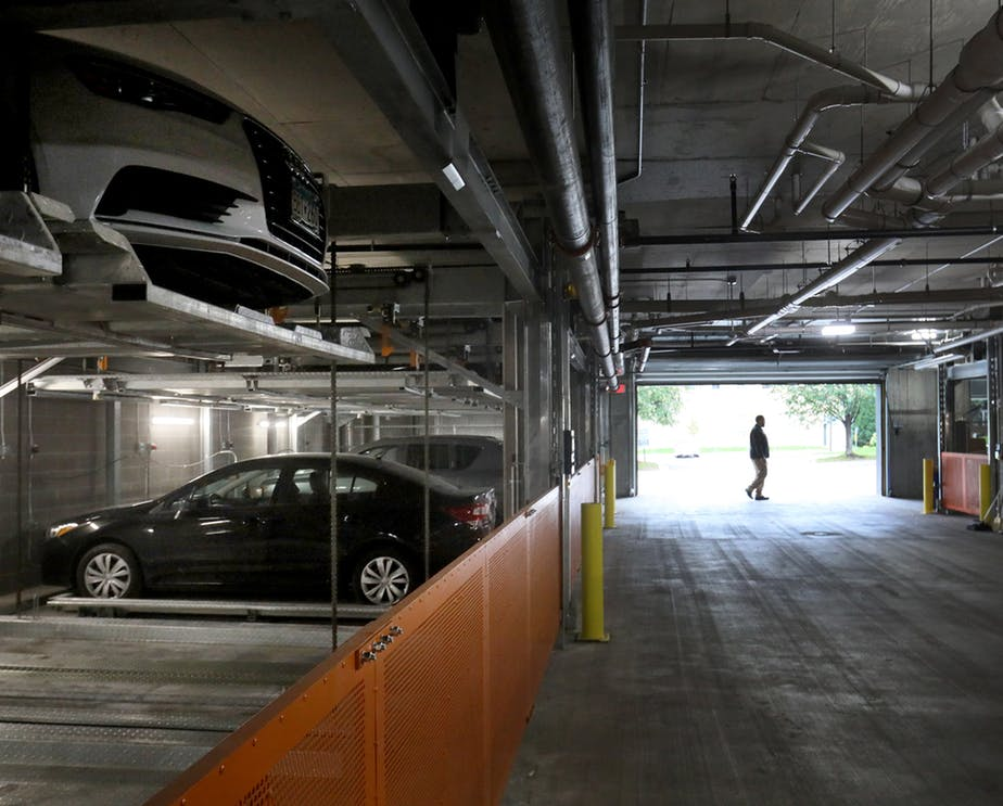 The garage at the M on Hennepin features the car matrix parking system that can shuffle cars on its two levels, allowing residents to have 24 / 7 access. (DAVID JOLES • STAR TRIBUNE)