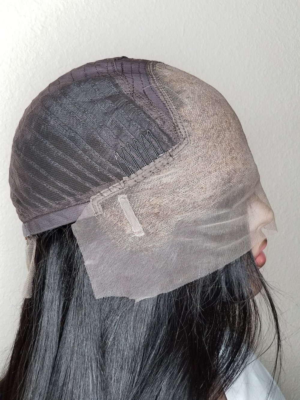 Inside of a lace frontal wig unit