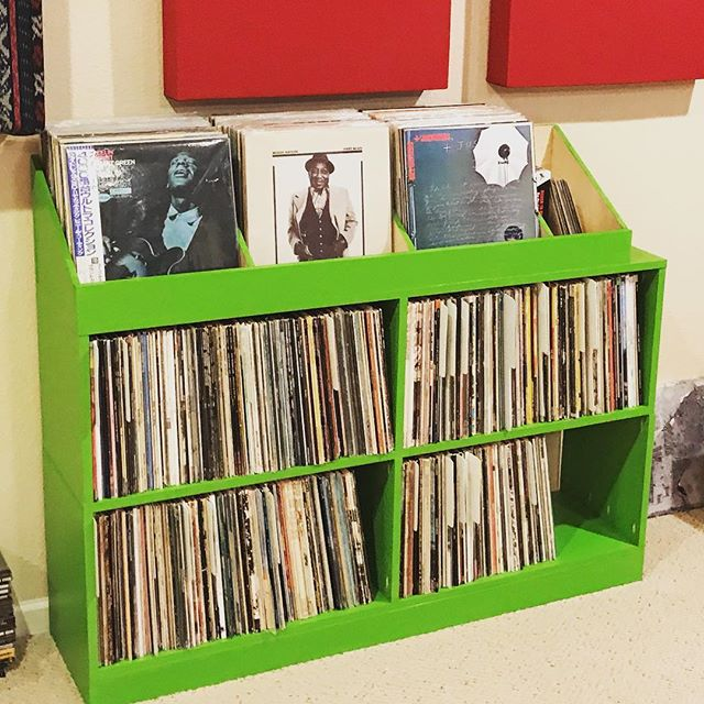Dads first workshop project: funky green record shelf for the man cave!