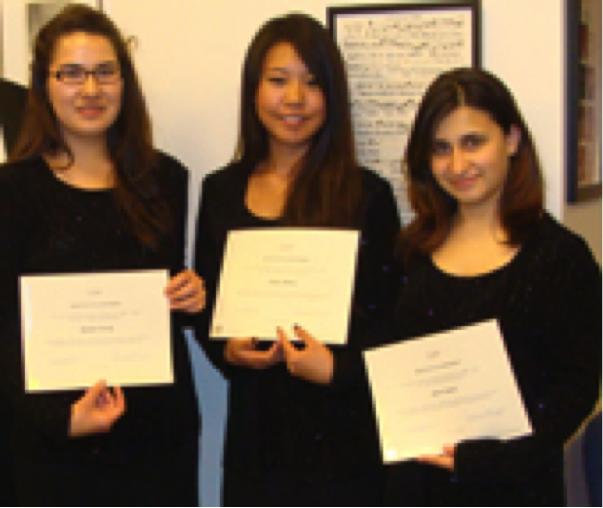 2009-2010  Scholarship Winners Rachel Chung, Ashley Moon and Beata Safari