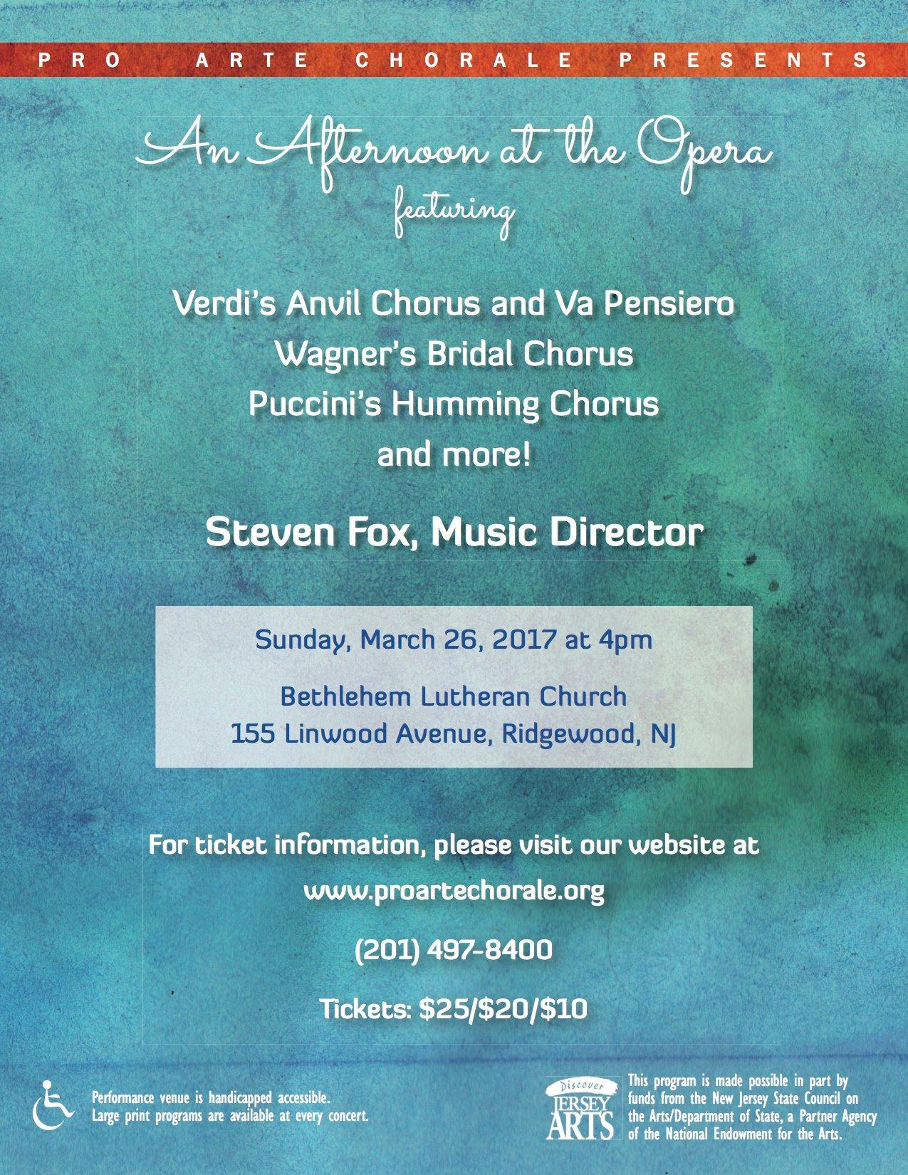 SCHEDULE — Pro Arte Chorale