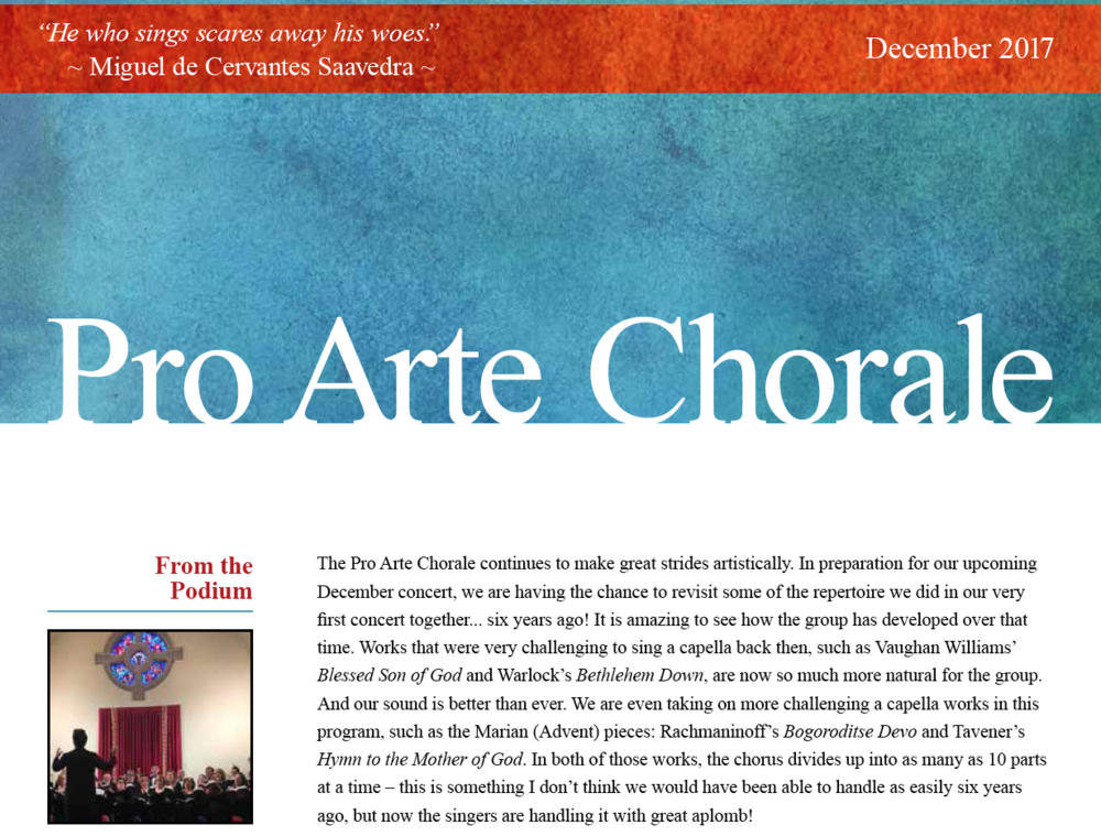 DECEMBER 2017 - Pro Arte prepares for its December concert...