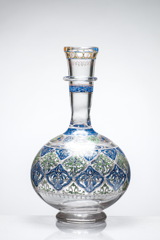"Giving, III (Recreation of ""Islamic Beaker"") Blown and Enameled Glass 16"" x 9"" x 9"" 2015"