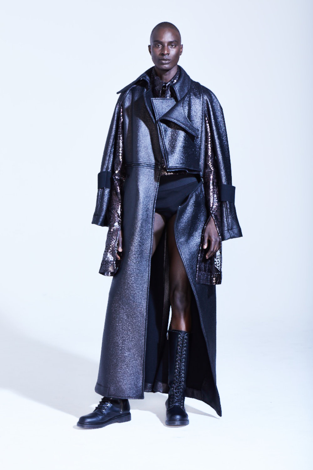 METALLIC WOOL PANEL TRENCHCOAT: BLACK FOIL