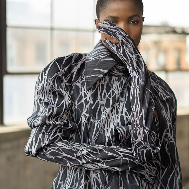 The Face. Introducing @cynthiaabdulahi for LANDEROS NEW YORK FW18 Lavender Bones Full Look. Ph @paveldenisenko Casting @juliuspoole Stylist @jeneseeutley Beauty @tiffanysaxby. #cfda #digitalprint #genderlessfashion #operagloves #madeinnyc #newromantic #vogueitalia