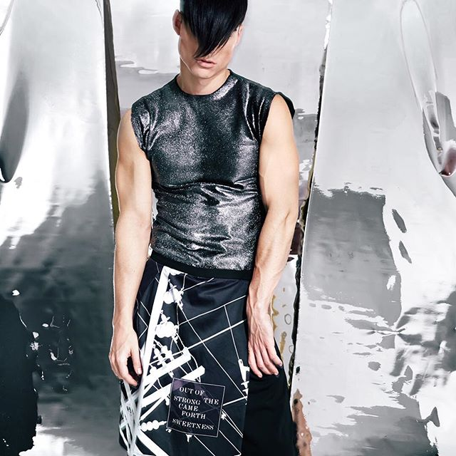 Out Of The Strong Came Forth Sweetness. @alex.wins in Metallic Cowhide Gilet + Tesla Digital Print Skirt Ph @nicecleanwhite #genderlessfashion #genderisdead #madeinnyc #scrittipolitti #scritti #cupidandpysche85 #nikolaitesla #outofthestrongcameforthsweetness