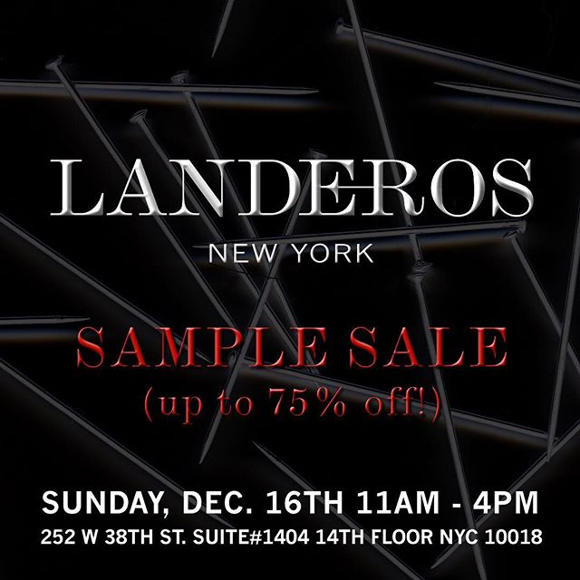 SAMPLE SALE SUN DEC 16th 11AM-4PM. @landerosnewyork Archive + Current collections up to 75% Off! Join us for Shopping + Holiday Drinks + More... #androgynous #genderlessfashion #madeinnyc
