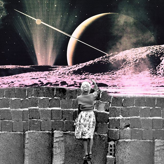 #mood rn...just looking at the world from a distance. Making #collageart and dealing w writers block. Maybe it's from hanging out w a baby all day. Sending out some love waves 💕💕 #collage