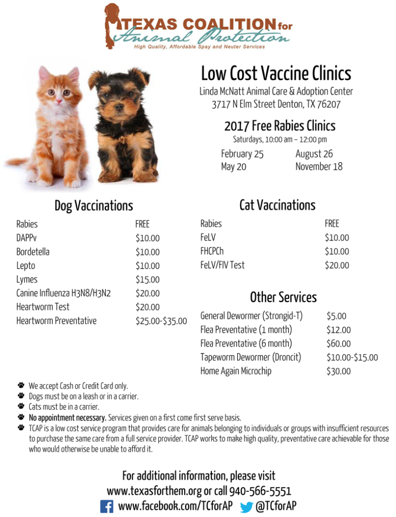 Low Cost Vaccine Clinic informational flyer