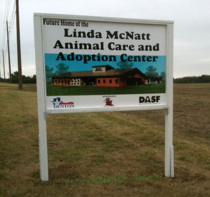 Road sign for the future home of the Linda McNatt Animal Care and Adoption Center