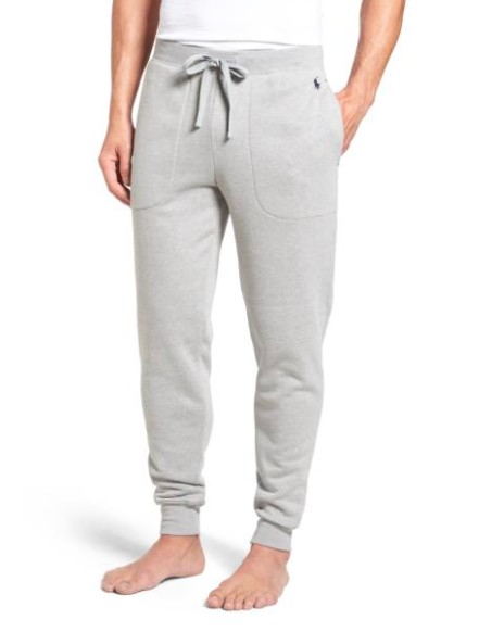 Sweatpants/sleepwear. - One thing I've noticed about guys is that if they had a choice, they would exclusively wear cozy sweatpants, bathrobes, and basically anything soft and cuddly. These Ralph Lauren jogger style sweats are just acceptable enough to wear in public, so he can go straight from bed to starbucks to pick up your morning latte (win, win).