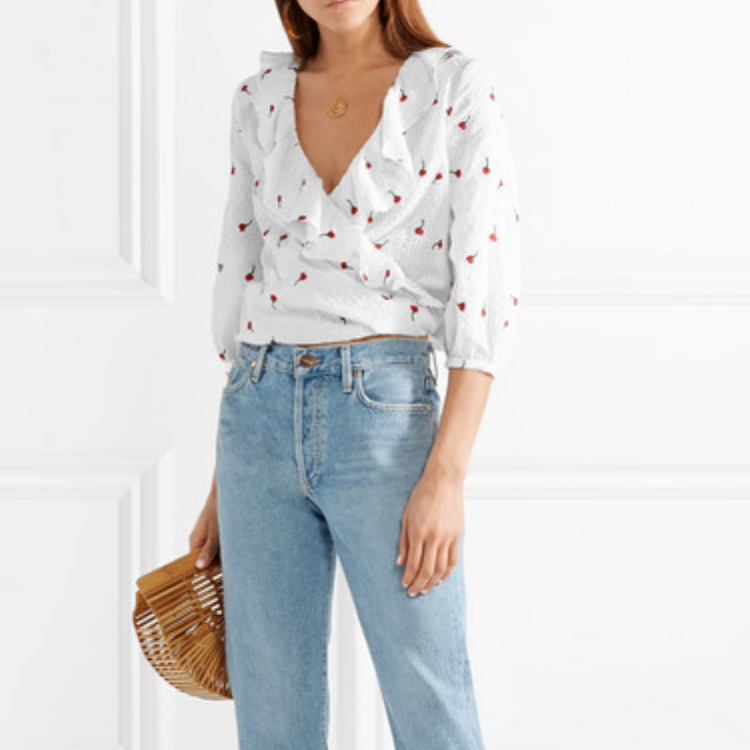 Rixo London Embroidered Wrap Top - $235