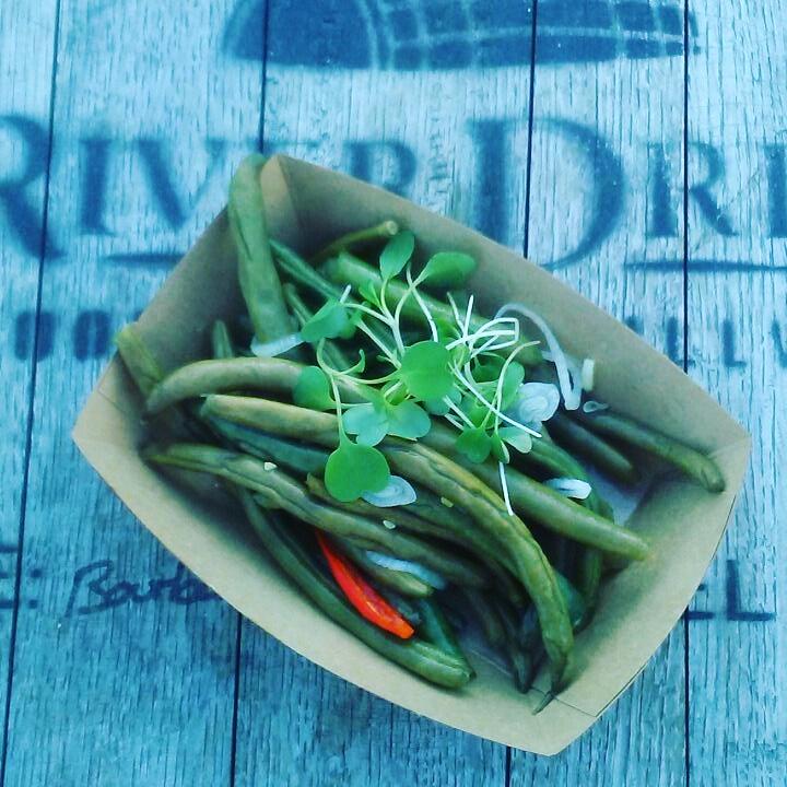 pickled green beans - thai chili, garlic, and shallotgf.(gluten free!) +veg. (vegan!)