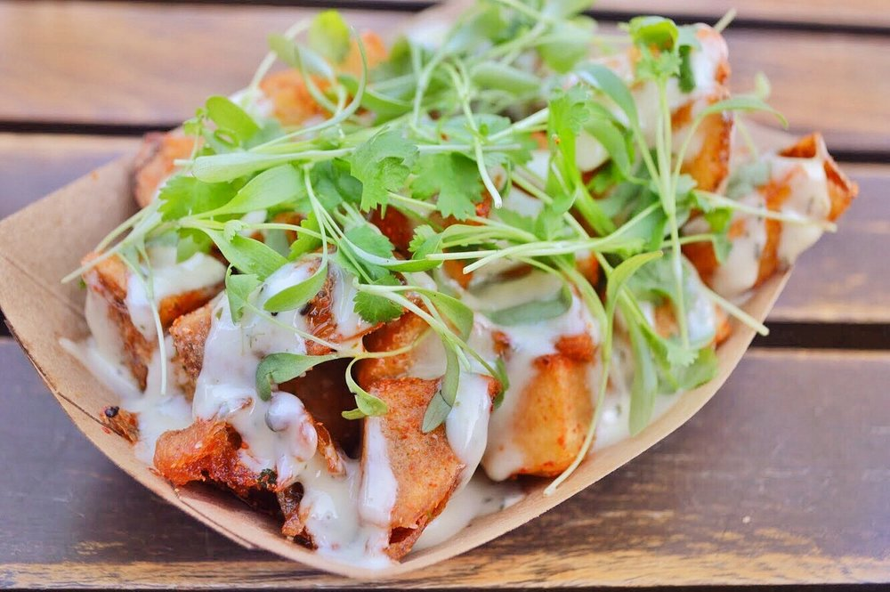 Togarashi Fries  - fried potatoes, japanese spice blendherb aioli, micro cilantrogf.(gluten free!) +v. (vegetarian!)