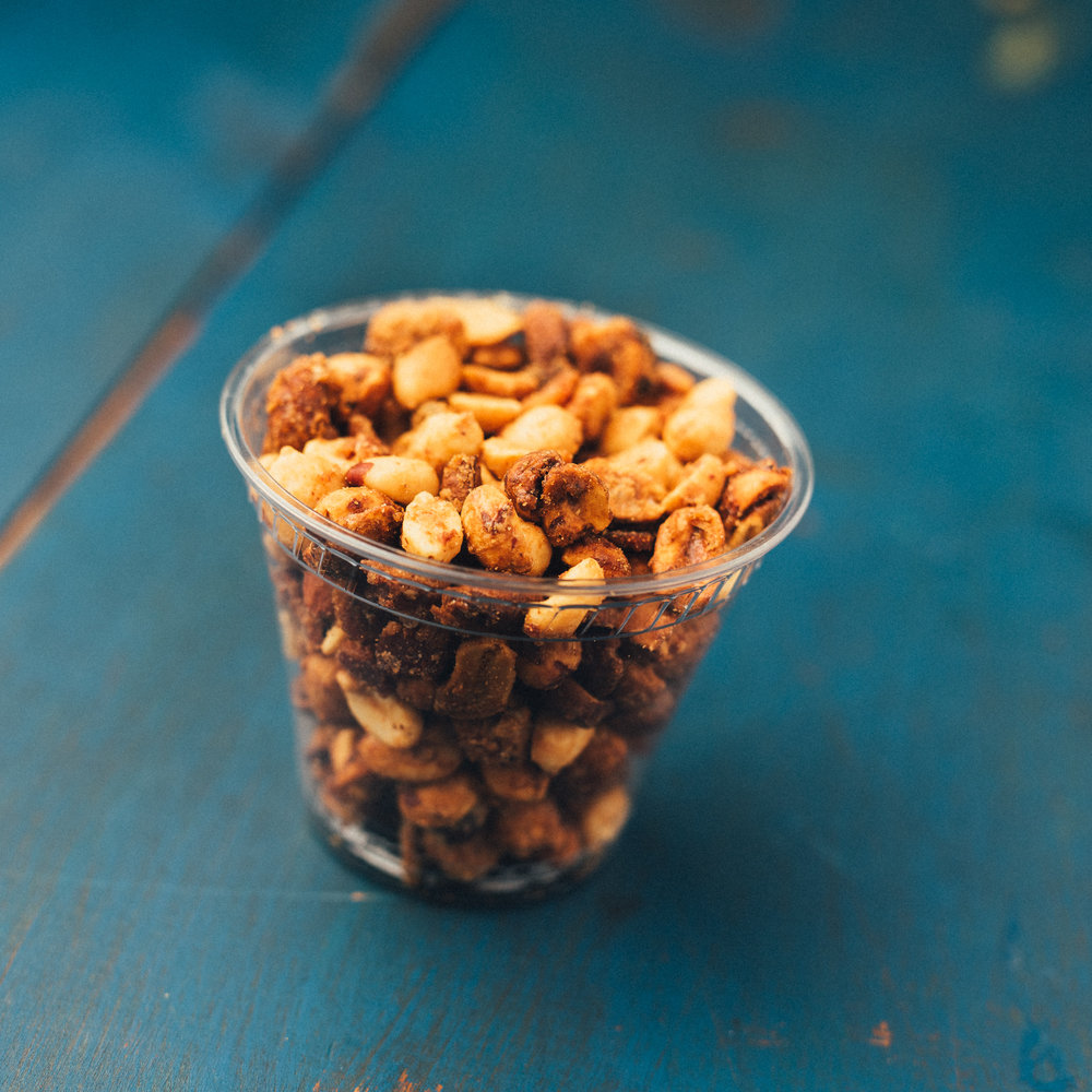 bacon bar nuts - candied mixed nuts, bacon,cayenne, maldon sea salt