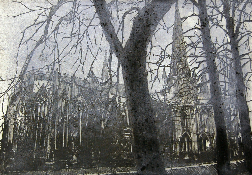 Lichfield Cathedral in winter mist and drizzle