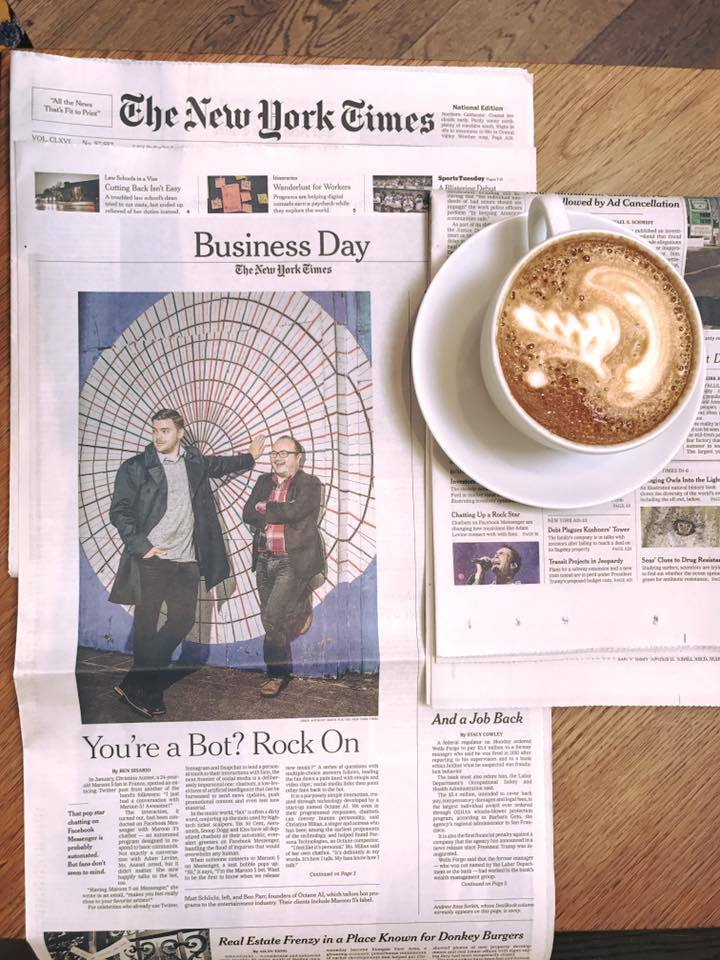 Co Founders Ben Parr, and Matt Schlict featured in the New York Times on April 4, 2017.