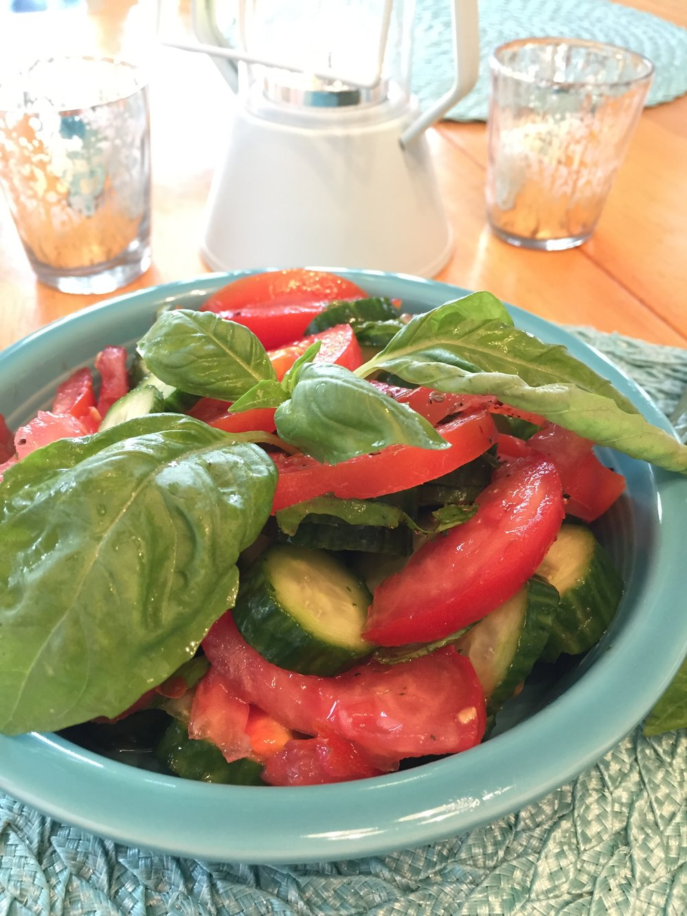 Tomato + Cucumber + Basil + Balsamic Vinegar + Pepper + (a light drizzle of) Olive Oil -