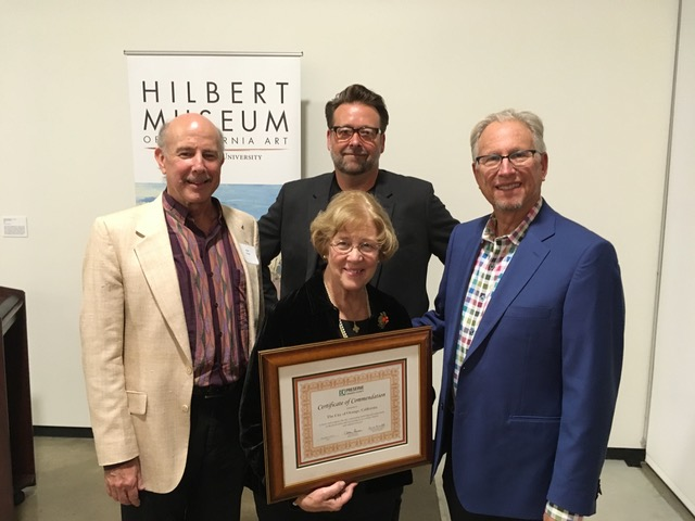 Left to right, Alan Hess, Board Chair, Preserve Orange County, Robert Imboden, Board Member, Preserve Orange County, City of Orange Mayor, Tita Smith, and Mark Hilbert, benefactor, Hilbert Museum of California Art