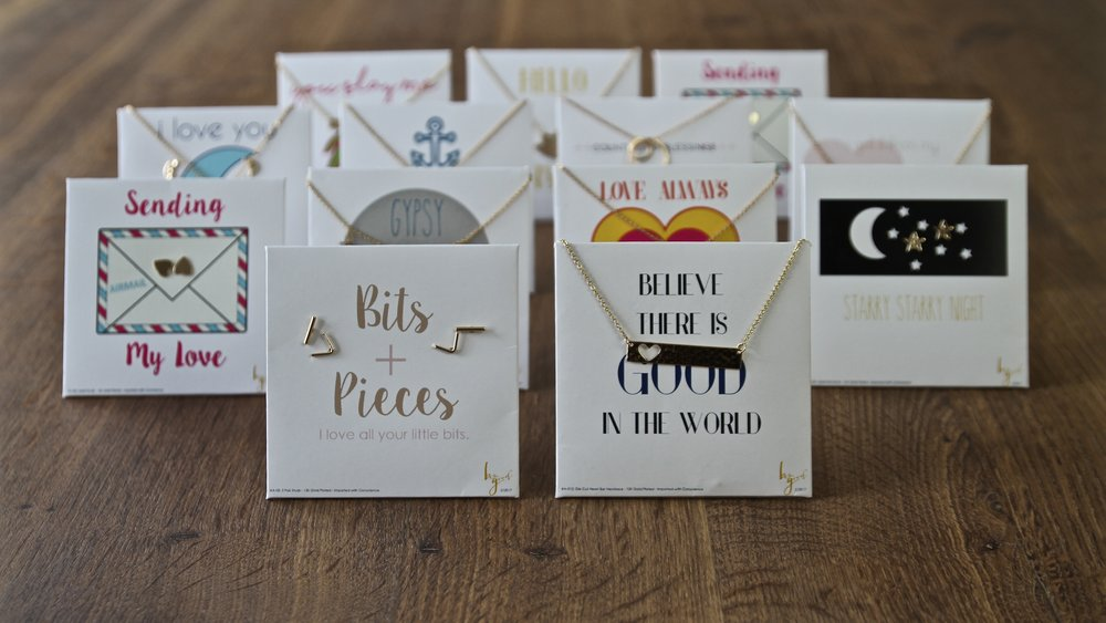 Popular jewelry on inspirational easel-back cards. - These cards are easy to display in shop, make great affordable gifts and fit nicely into muslin drawstring gift bags.