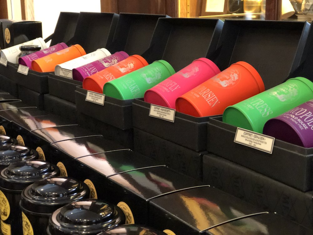 Loved these eye-popping tea tin colors at the famous Mariage Freres Tea Shoppe in Paris' Latin Quarter