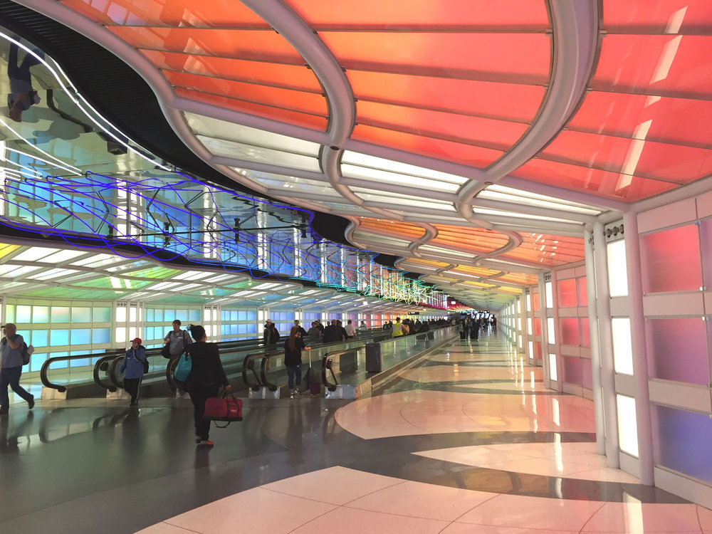Light tunnel at Chicago Ohare airport