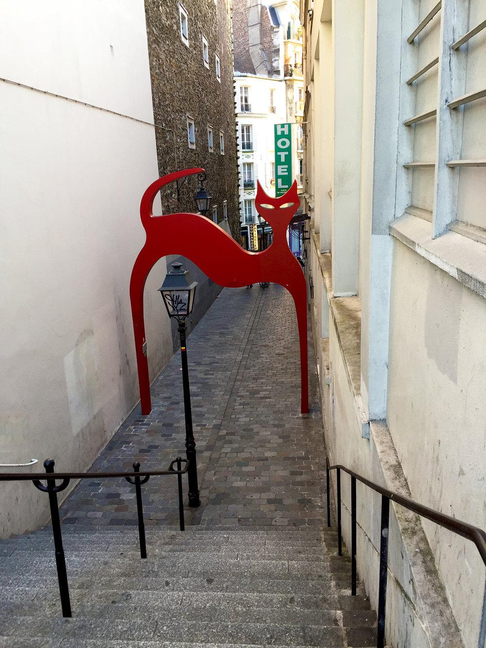 Passage de la Voûte in the 12th arrondissement. It really should be renamed Passage du Chat, don't you think?