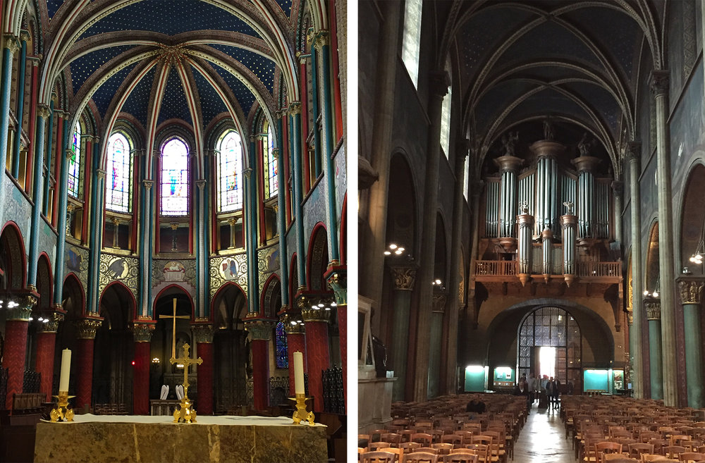 The restored choir on the left; more work to be done in the nave on the right