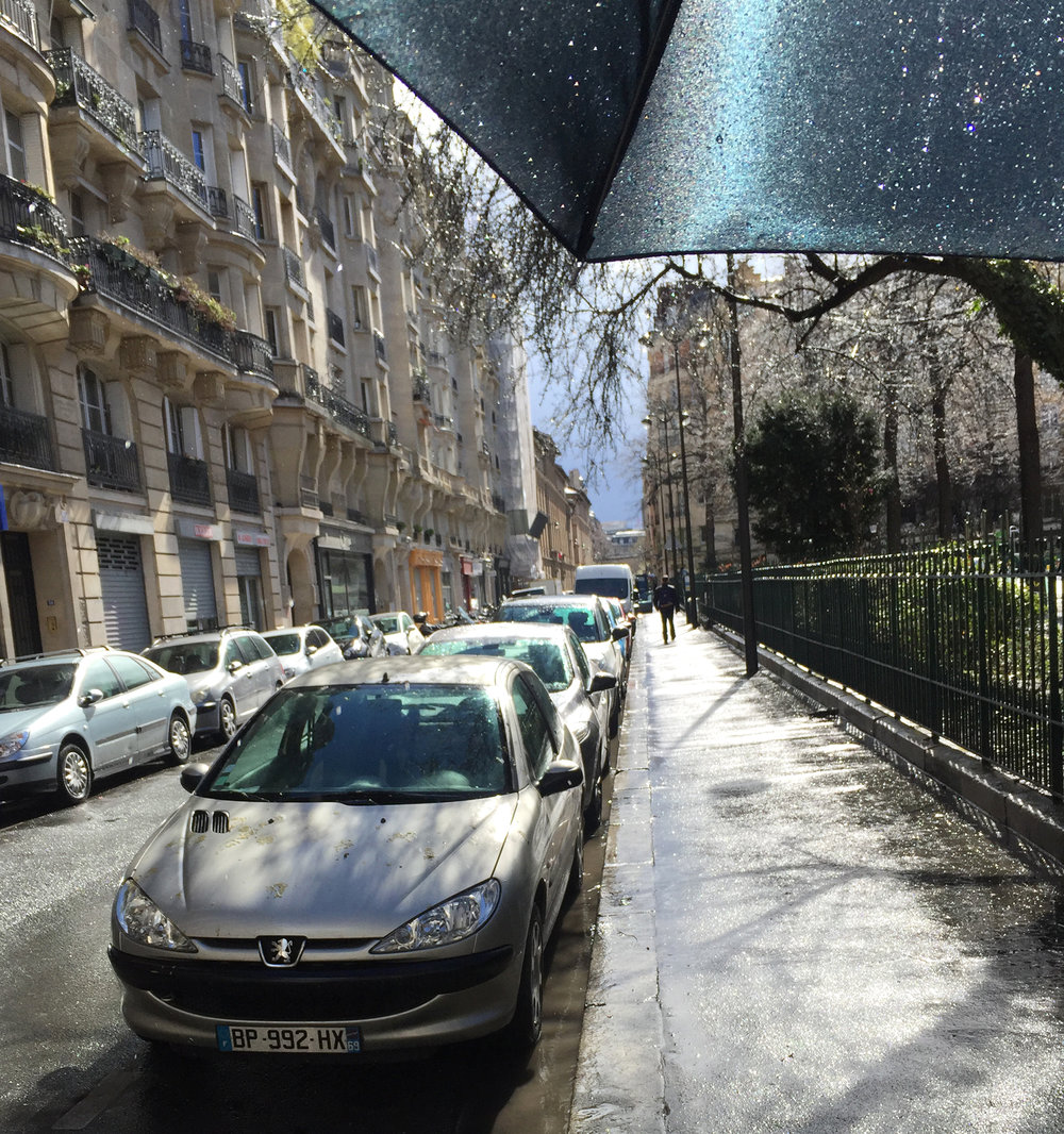 Rue Charles Baudelaire near square Trousseau in the 12th arrondissement. Sometimes, the umbrella gets in the way!