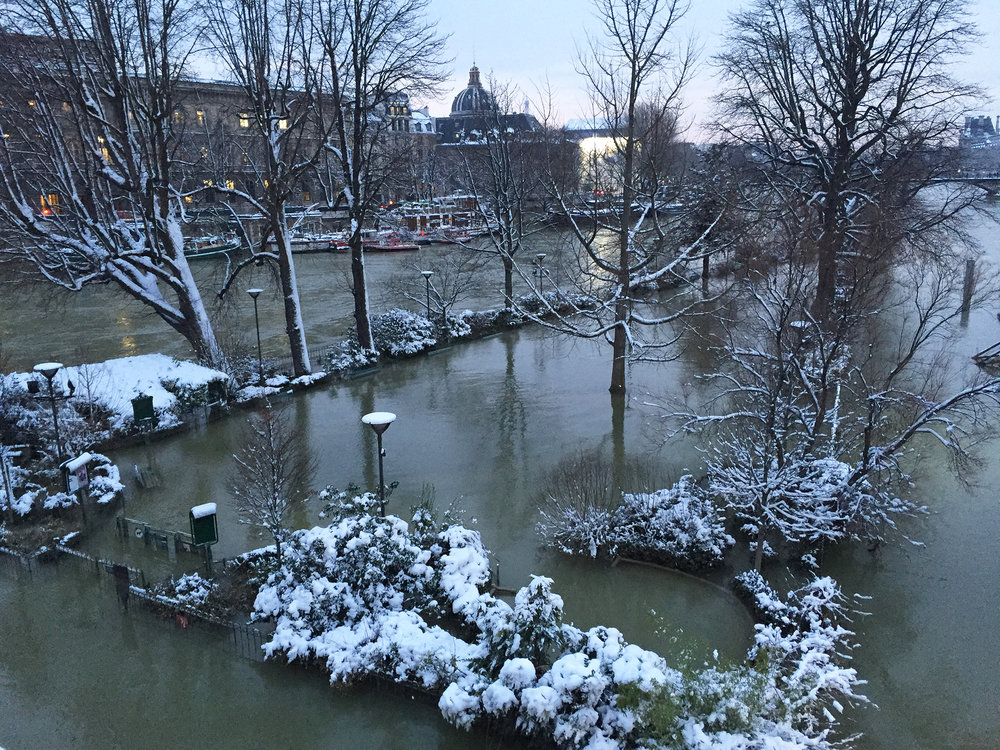 Snow-covered vegetation outlines the triangular tip of a still flooded Square du Vert-Galant.