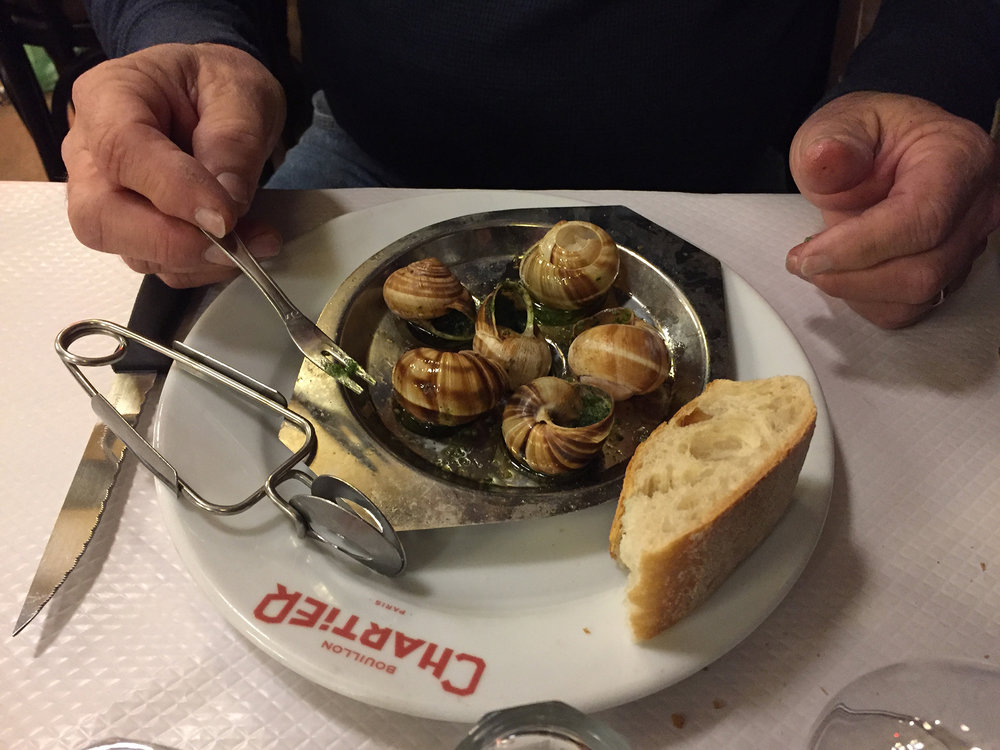 Rick ordered escargots for his first course but I don't believe he used the snail tongs. Maybe he was afraid of flinging the shells across the dining room like Julia Roberts in Pretty Woman?
