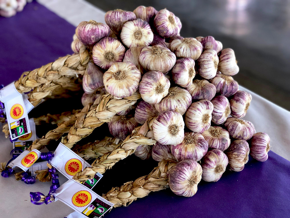 The stalks of this purple garlic are soft enough to be braided