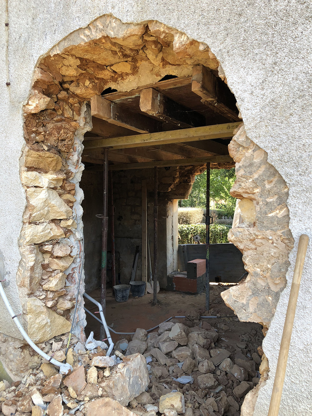 See through! In addition to opening the back side to instal French doors, we also enlarged the old cellar door on the front side. It will lead to the new kitchen.