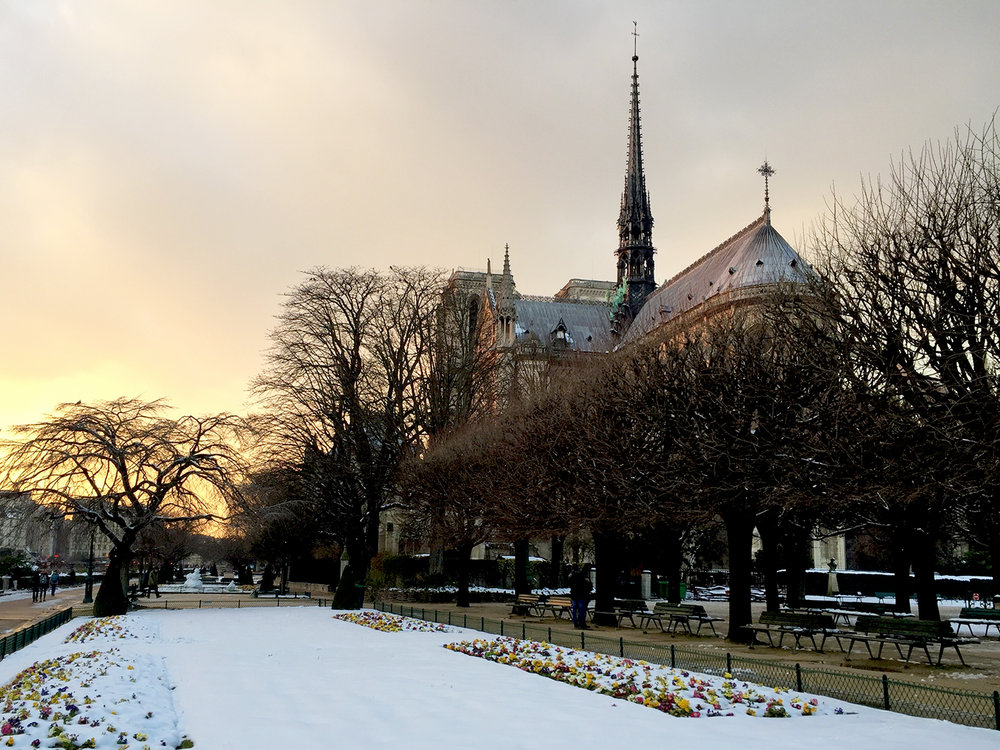 A rare photo of Notre-Dame on a snowy day