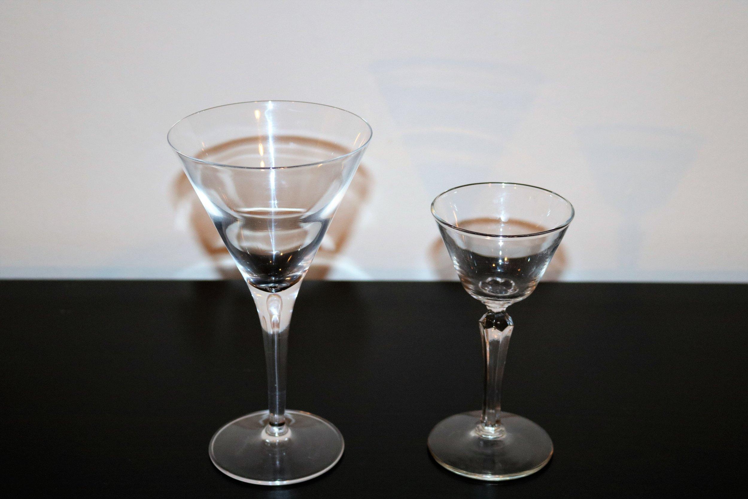 episode   vintage  modern glassware — modern bar cart - martini  libbey cocktail glass