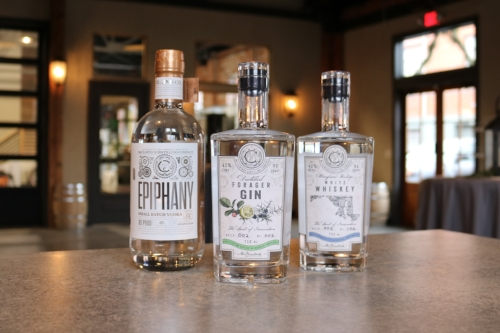 McClintock's Spirits from L-R:  Epiphany Vodka, Forager Gin, White Whiskey