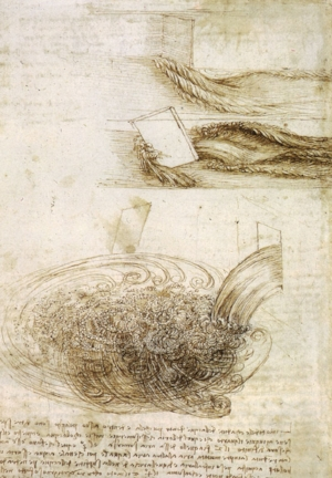 Da Vinci's study of water falling past objects. Also looks like human hair!
