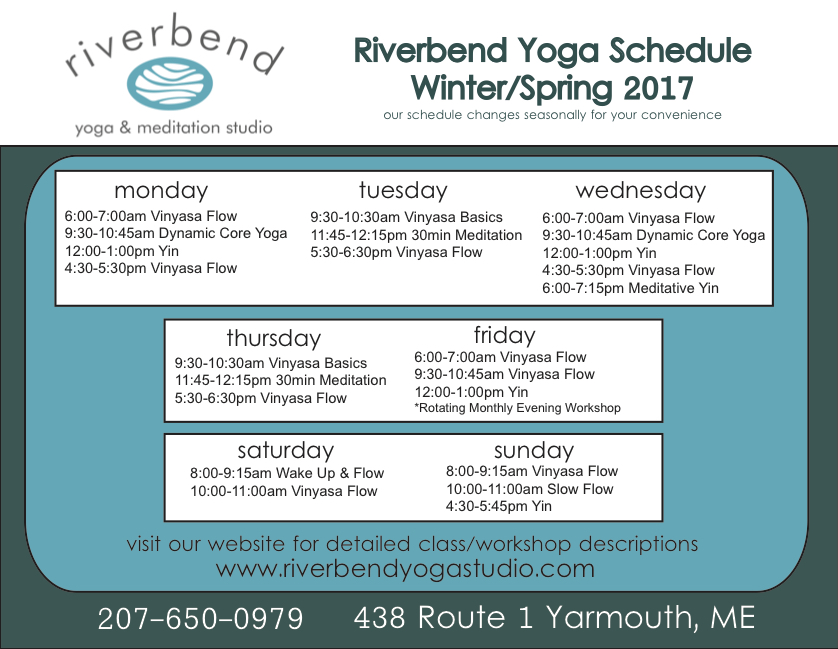 You can follow Riverbend Yoga & Meditation Studio via:   Facebook:  https://www.facebook.com/riverbendyogastudio/   Instagram:  @riverbendyoga     Website:   http://riverbendyogastudio.com