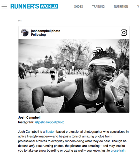 """One of the 15 Social Media accounts every runner should follow."" -Runners World"