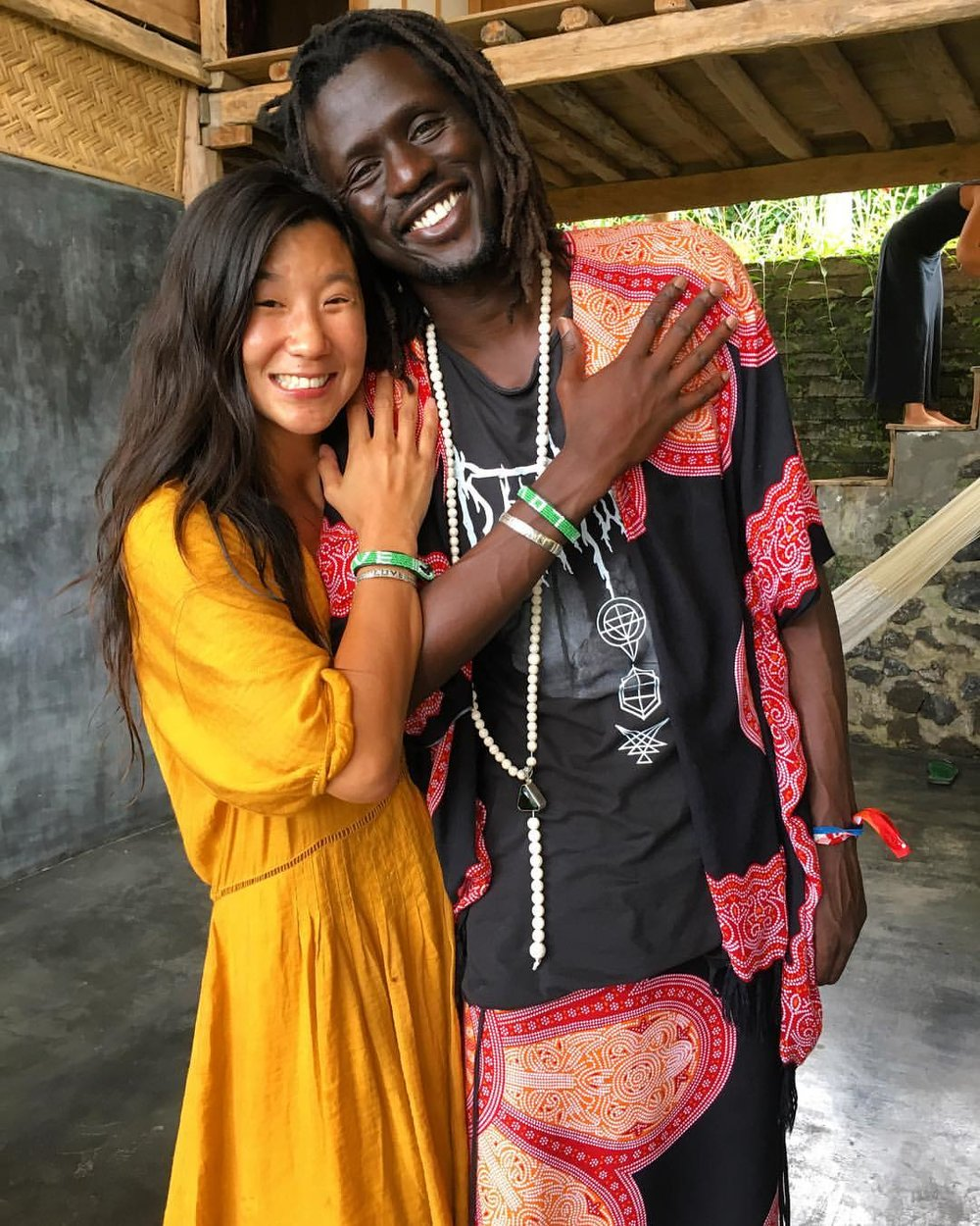 "INSTAGRAM PHOTO via  @  thesupplychange  ""Love & Peace. Grateful to have original supporter  @emmanueljal  a part of the  @loveisproject   #loveisgreen  photoshoot today in  #Bali . Beautiful day hanging with friends & sharing the love.  #wewantpeace   #loveisproject """