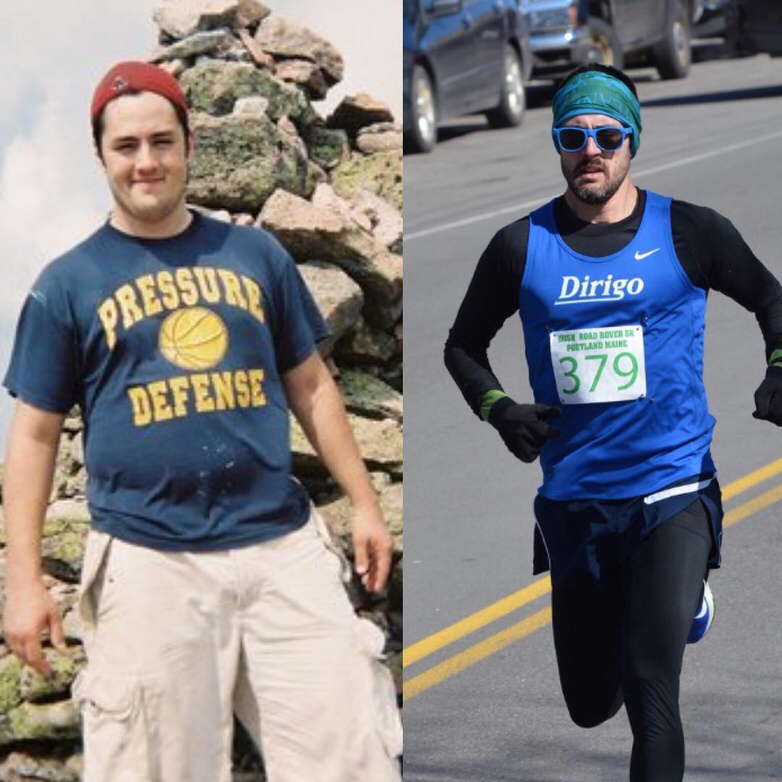 """A lot has transpired over the last ten years, but during that time running has been a constant that has helped keep me happy, sane, focused and oh yeah, roughly 55 pounds lighter. The process is hard but the results are worth it. Keep grinding everyone #transformationtuesday #runhappy #mainerunning"" -Rob Gomez via  Instagram   @eshoretrain"