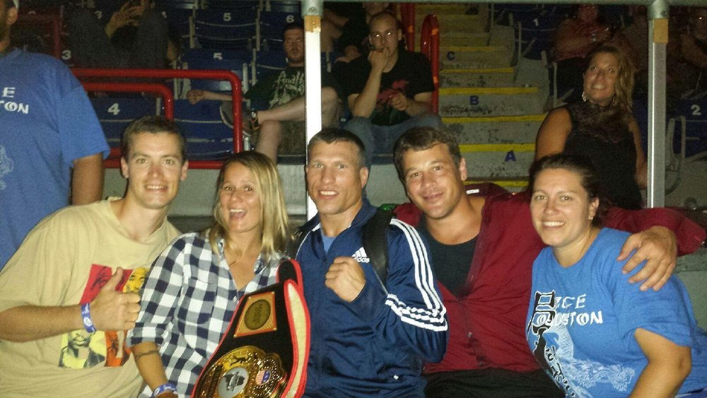 "Taekwondo family reunion @ The 2014 Lightweight Championship Title Rematch. Israel Phillips, Jessica Nolette, WINNER: Bruce ""Pretty Boy"" Boyington, Eric Bishop, Jen Brown"